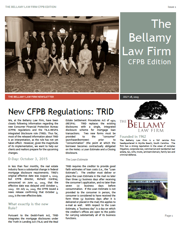 Bellamy Law Firm First Newsletter
